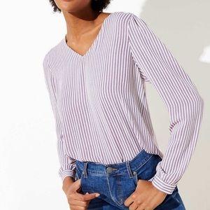 LOFT Striped V-Neck Blouse Size XL GUC